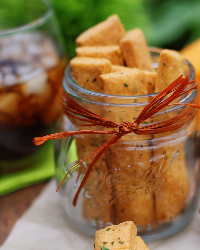 Cheese Straws in a jar as a gift