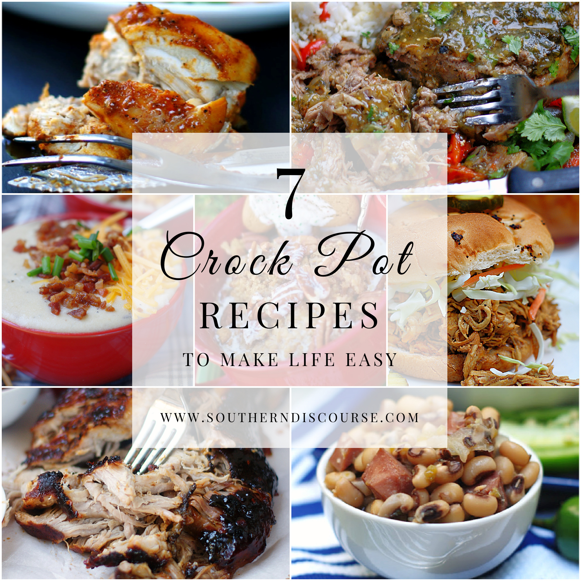 7 slow cooker recipes to make life easy. From BBQ sandwiches to soup to side dishes to breakfast, an easy slow cooker recipe can make enjoying every meal with your family delicious!
