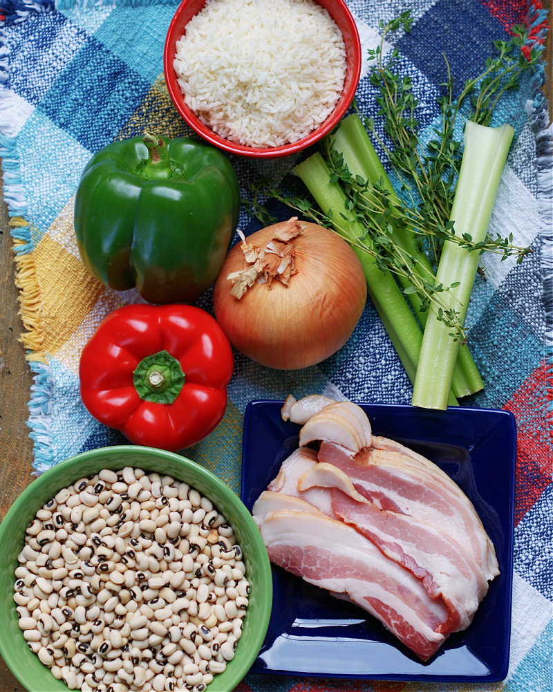 Ingredients to make southern hoppin John