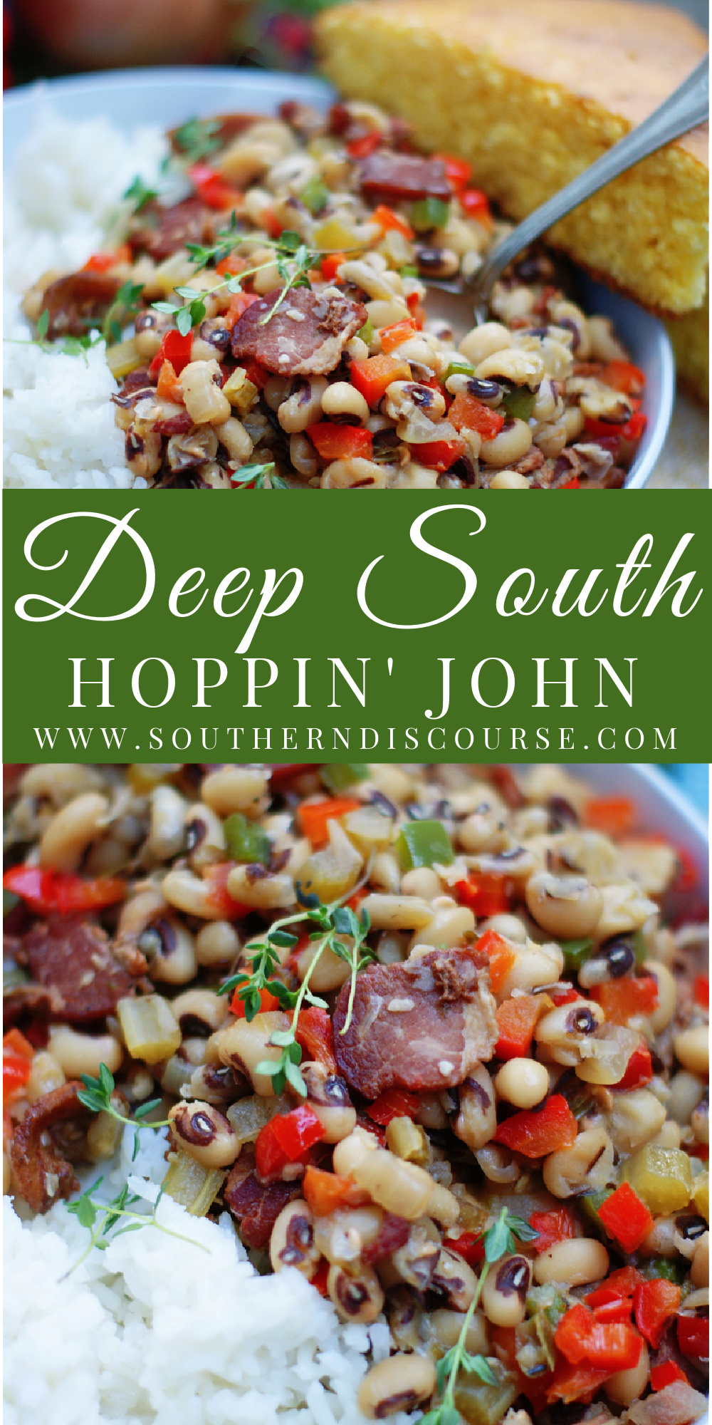 As Southern as it is delicious, this traditional black eyed pea recipe enjoys the rich flavors of pork, bell peppers, onion, celery, herbs and spices served over rice.  Hoppin' John is comforting, stick-to-your ribs, real kind of food.  And even though it's a favorite New Year's Day dish, just one bite will have you wanting to dig in all year long!