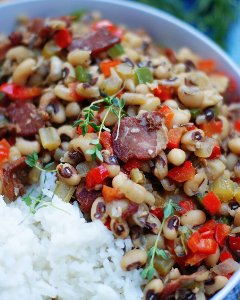 Hoppin john black eyed peas and rice seasoned with pork upclose