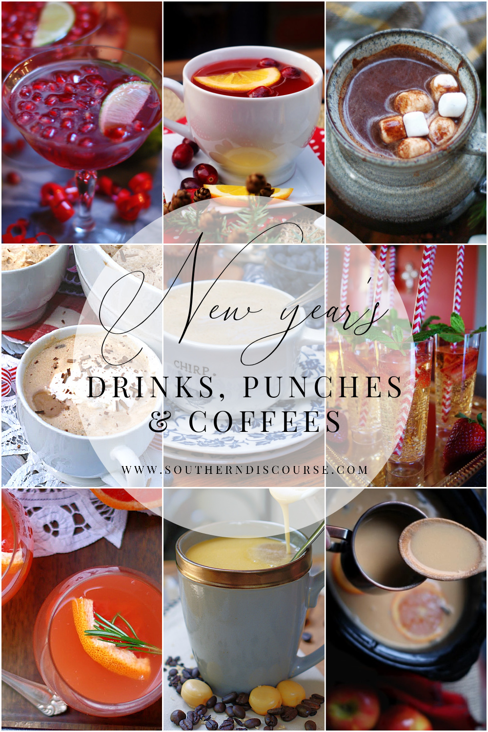 Add a little merry, sparkle and cozy to your New Year's celebration with these 9 special drinks, punches and coffees.  There's a little something for everyone in this non-alcoholic collection, but that doesn't mean you have to skimp on taste, color, or pretty.  These classic drinks have it all in spades!  From toasting on New Year's Eve to New Year's Day brunch and dessert, there's nothing like a fancy sipper to set your party apart.