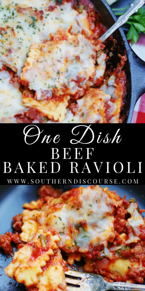 Cheesy One Dish Beef Baked Ravioli is an easy meal with delicious cheese fill pasta, hearty beef & sausage red sauce all prepared and baked in just one dish!