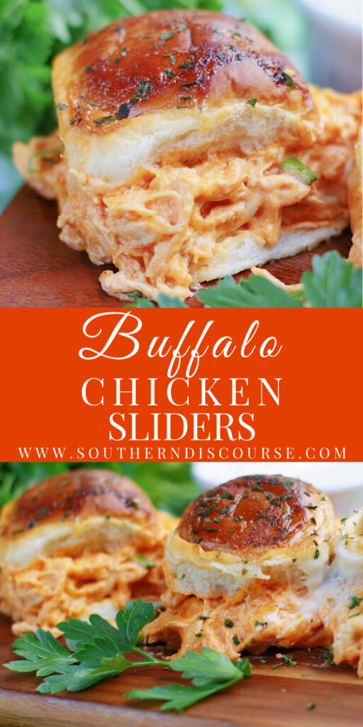 Shredded Chicken, ranch dressing, hot buffalo sauce and Hawaiian rolls make for unforgettable Buffalo Chicken sliders perfect for your next game, party or as a meal with a bowl of soup!