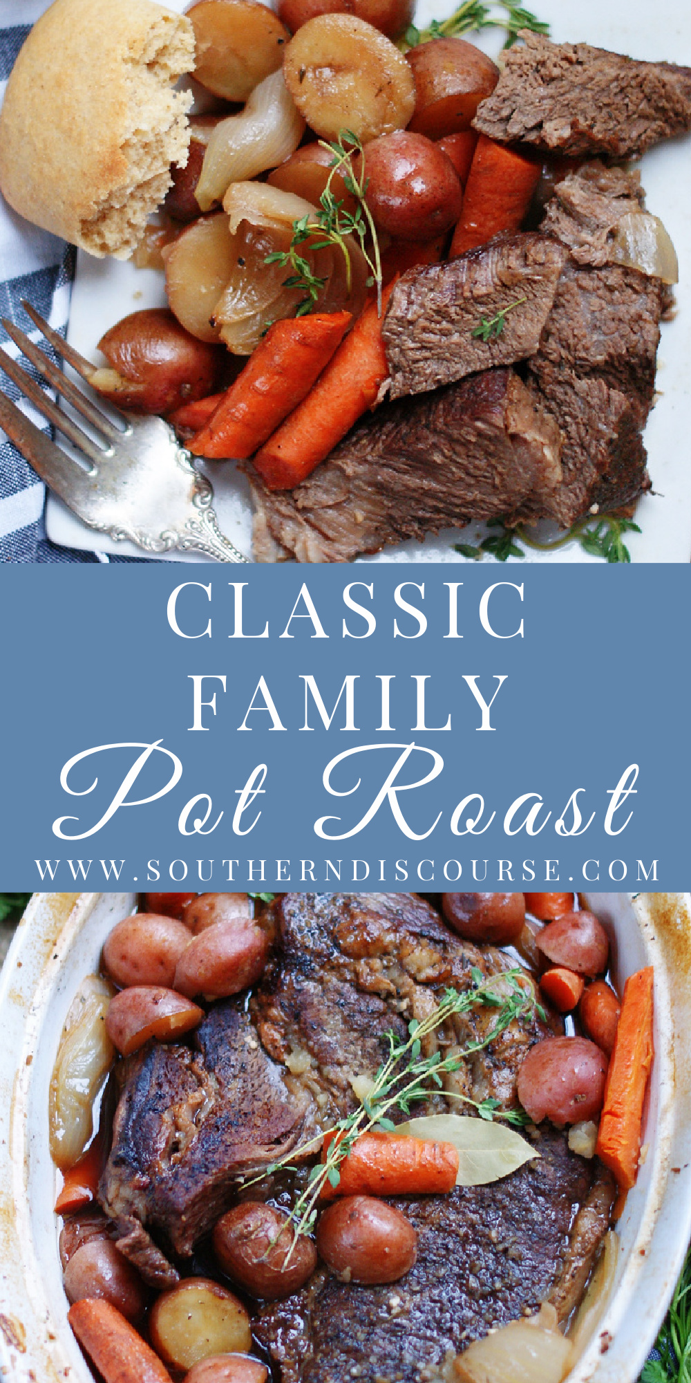 Nothing says family Sunday dinner like a melt-in-your-mouth, fork tender Classic Family Pot Roast.  Cooked low and slow with beef broth, red wine, savory seasonings, aromatics and plenty of dinner vegetables this classic comfort food recipe has been gathering friends and families around the dinner table for more years than we can count!