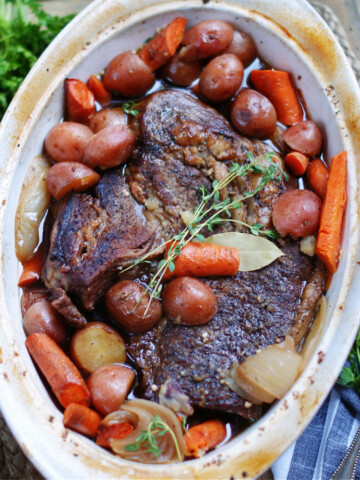 Classic family pot roast with potatoes and carrots