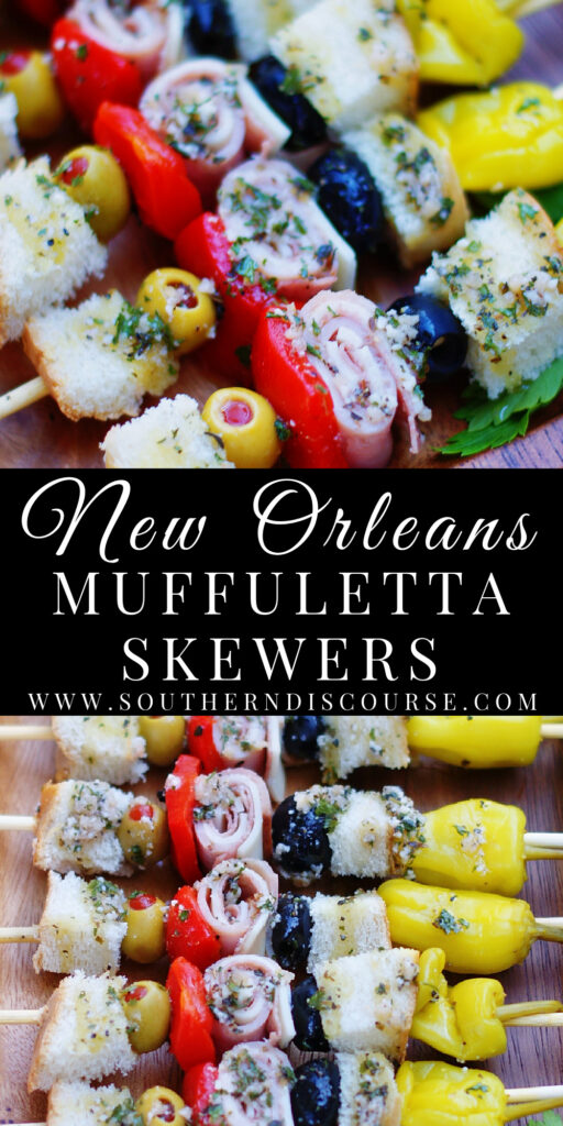 A fun take on the Classic New Orleans Muffuletta Sandwich, these fun anitpasto-type kabobs are loaded up with ham, salami, cheese, olives and drizzled with an oil & vinegar dressing straight from the muffuletta olive salad. There's no question as to why Muffuletta Skewers are the perfect party appetizer!