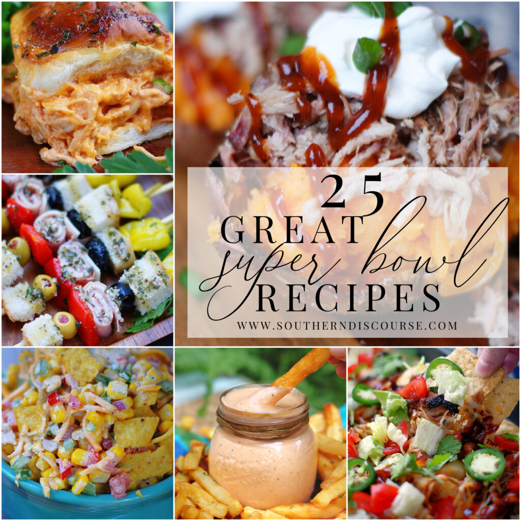 25 delicious super bowl recipes gauranteed to make your football fans happy.  From nachos to dips, meatballs, pasta salads to decadent brownies, this everything you need to throw an epic super bowl for those you love!