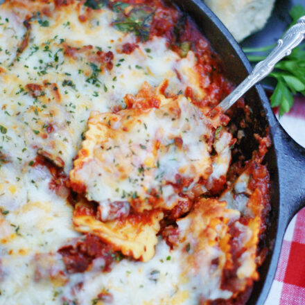 Serving beef baked ravioli from a skillet