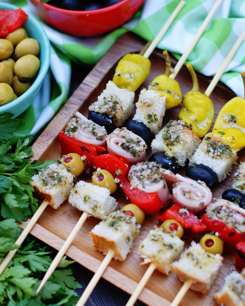 Classic Louisiana Muffuletta flavors in an appetizer skewer