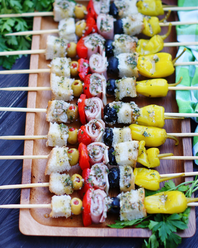 New Orleans Muffuletta Skewer Appetizer on a party tray