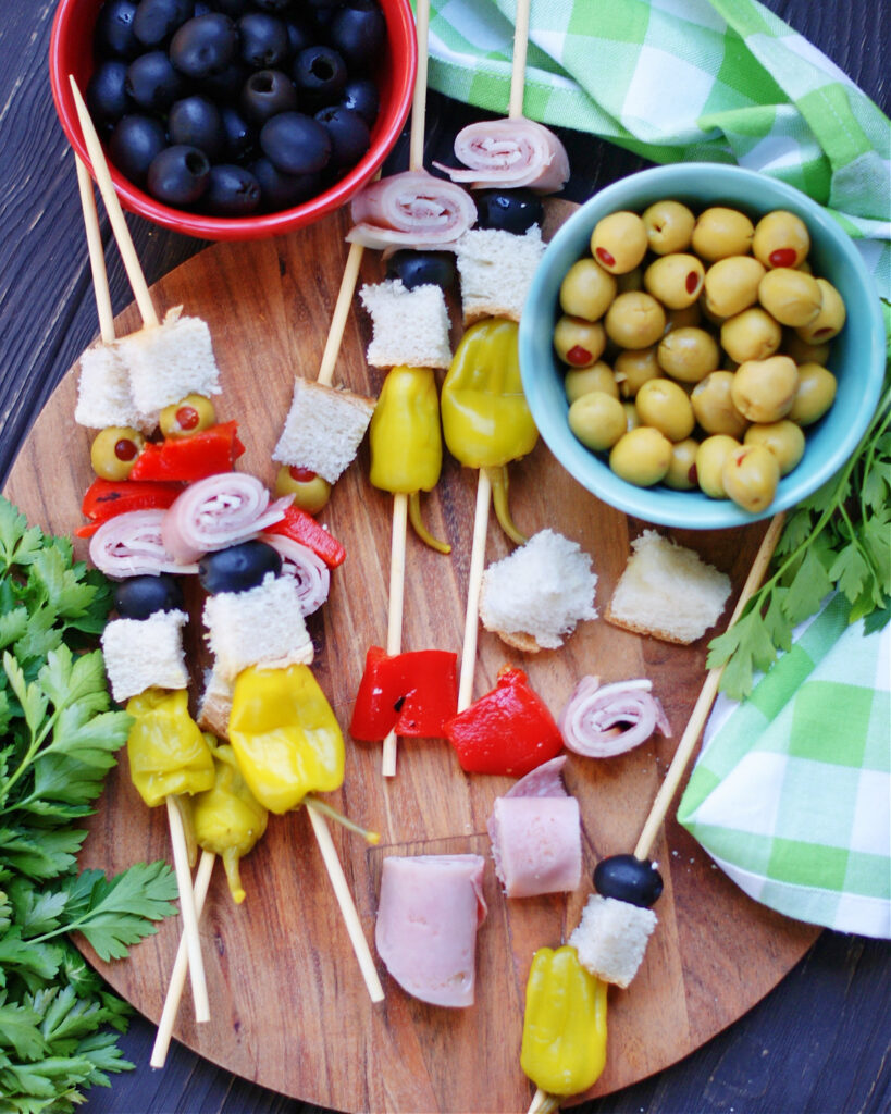 How to make muffuletta skewers for party appetizers