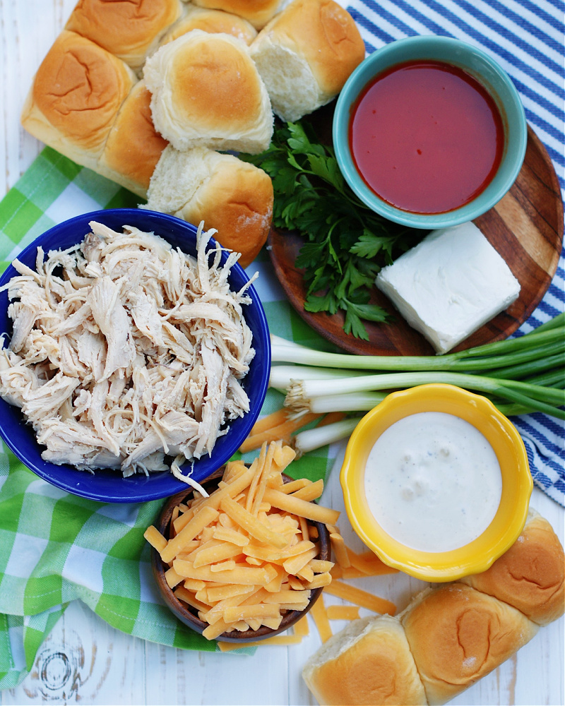 Ingredients to make easy shredded chicken buffalo sliders