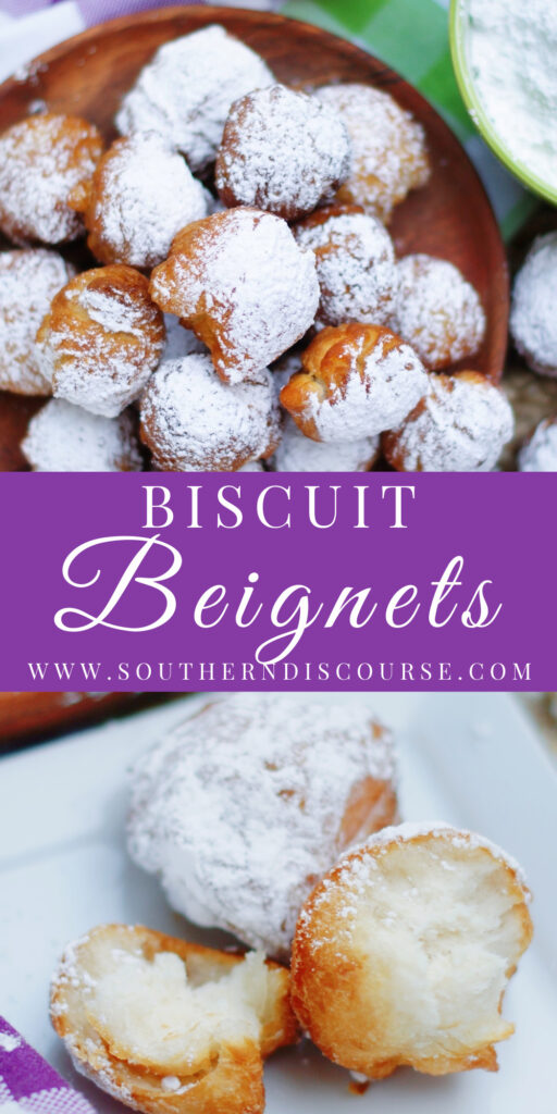 Easy Louisiana Biscuit Beignets are a short cut recipe for creating those classic New Orleans style doughnuts. Fluffy pillows of biscuit dough fried up golden brown and dusted with powdered sugar make the perfect treat!