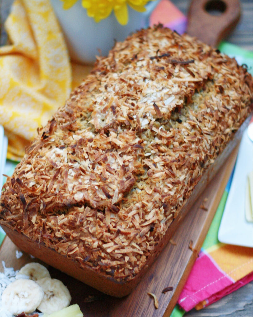 Hummingbird Banana Bread Loaf with pineapples, bananas, coconut and pecans.