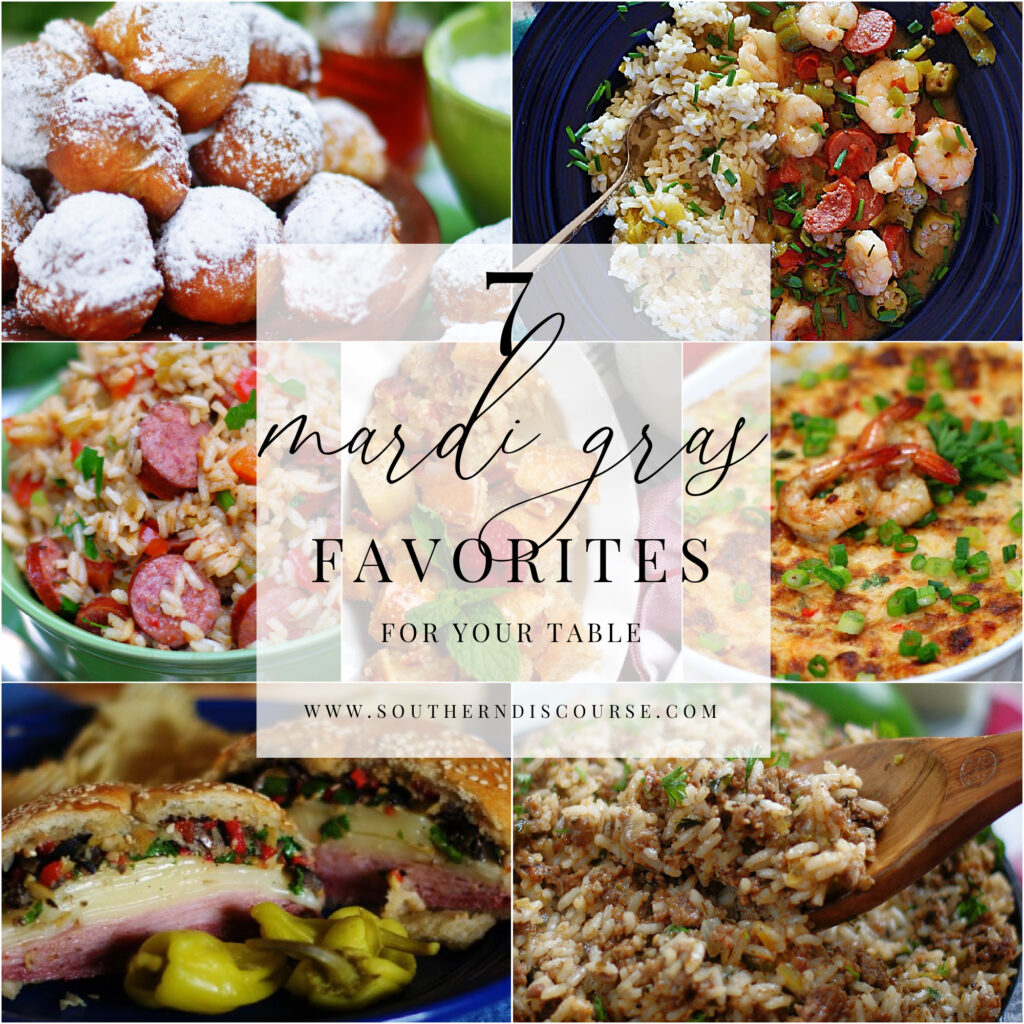 7 dishes to make at home for Mardi Gras.  From Louisiana Dirty Rice to Jambalaya to Biscuit Beignets, these dishes are easy to make and delicious to enjoy!