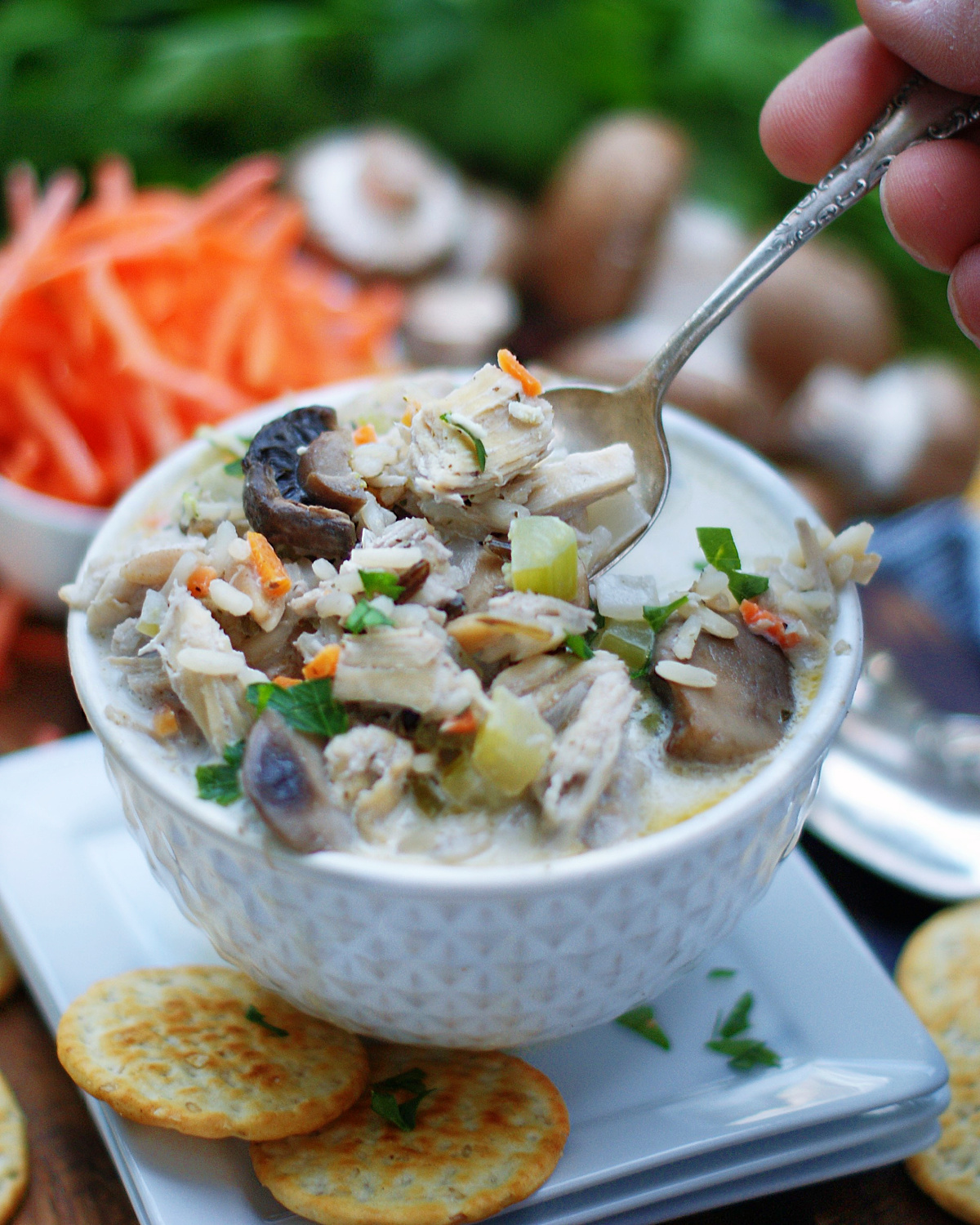 How to serve Creamy Chicken Wild RIce Soup with Mushrooms