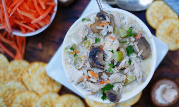 Creamy Chicken And Wild Rice Soup with mushrooms