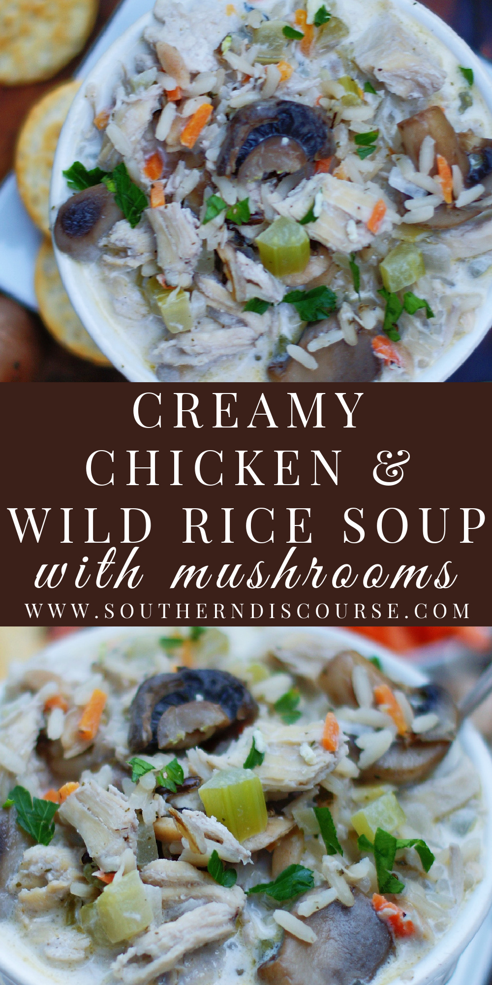 Whip up the cozy, familiar feels of home with comforting Chicken and Wild Rice Soup with Portabella Mushrooms. Loaded with carrots, celery, onion, rich wild rice, chicken, sliced mushrooms and a luscious creamy base, this easy homemade soup recipe is guaranteed to warm you heart and soul.