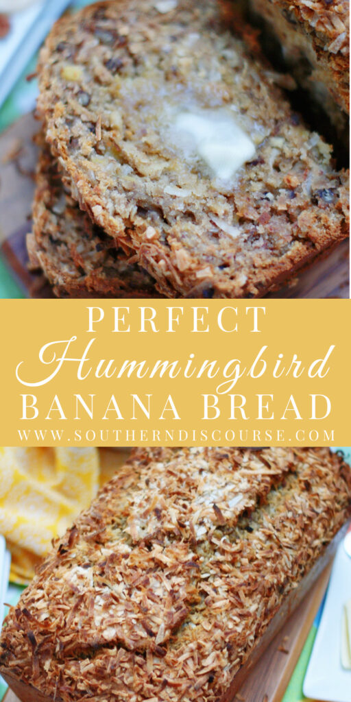 Moist and tender Hummingbird Banana Bread is loaded with sunny pineapples, ripe bananas, sweet coconut and buttery pecans.  Just like the classic cake, this quick bread will be your new favorite!