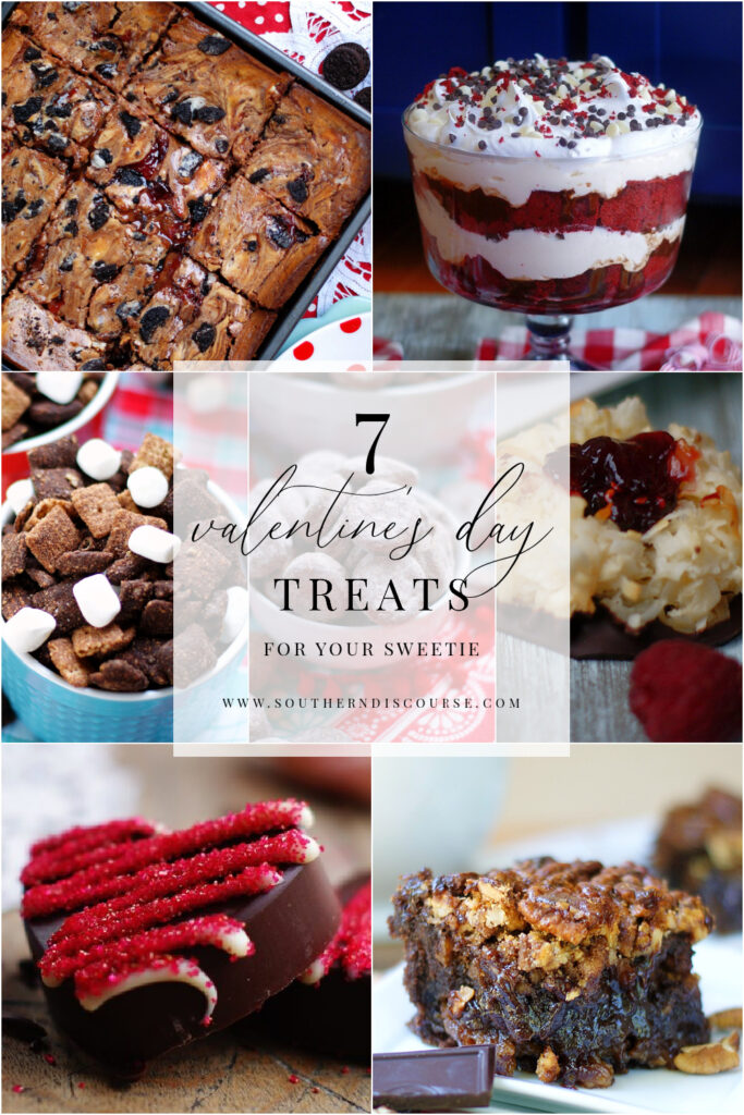 7 chocolate Valentine  desserts and treats to share with your sweetie.  From loaded strawberry cheesecake brownies & a red velvet trife to snacks like spicy chocolate heart candies and chocolate snack mixes, there is something here for everyone to love!