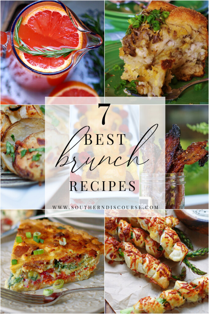 Enjoy these 7 beautiful & easy brunch recipes!  From potatoes to punch, quiche, breads and more, this collection has everything you need to plan and enjoy a beautiful brunch!