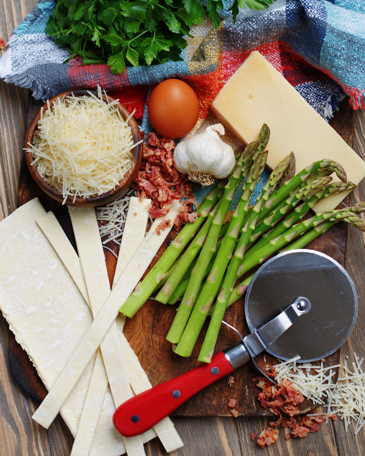 Ingredients for Bacon Parmesan Asparagus Twists