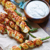 Puff Pastry Asparagus Twists with dip