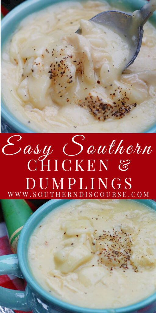 Easy Soouthern Chicken and Dumplings with flat southern dumplings and an easy hearty chicken stew.