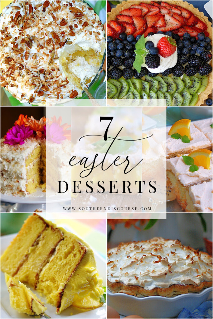 7 Easter desserts for Easter Dinner. From sheet cakes and bars to layer cakes and pies made in delicious fresh spring flavors like coconut, pineapple, lemon, orange and lime.