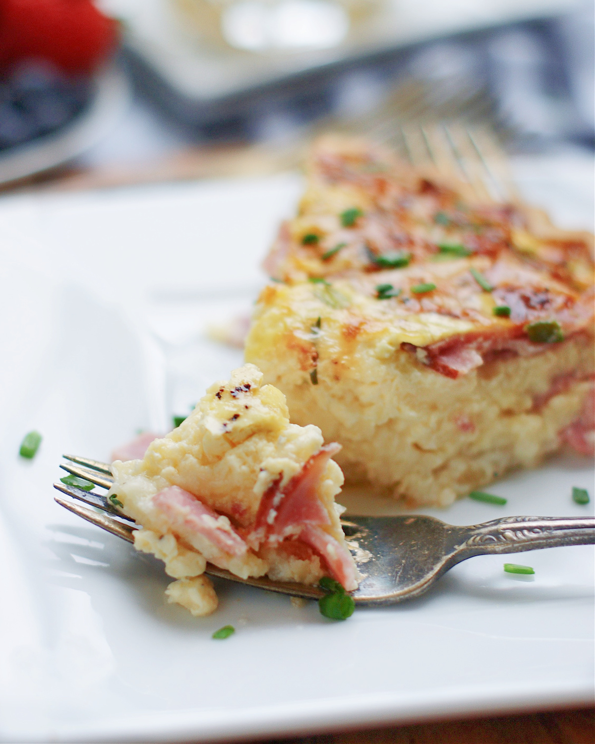 Ham & swiss Quiche with mayonnaise