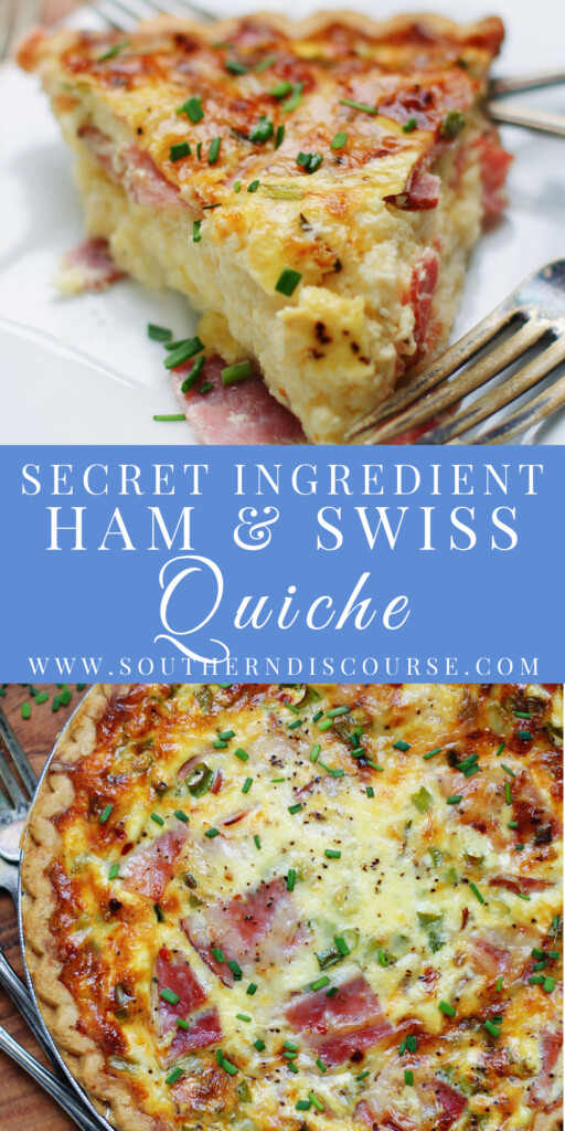 Perfect for using leftover ham, this Ham & Swiss Quiche has a secret ingredient that makes for a creamy, silky quiche every time!