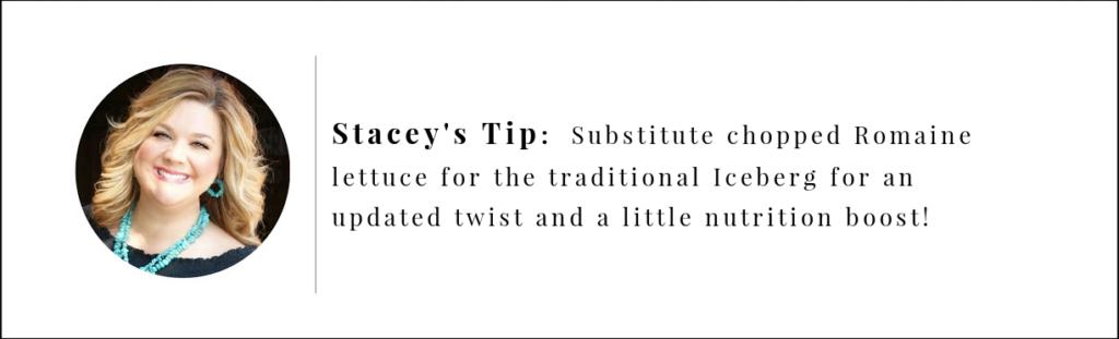 Stacey's Tip ، استبدل الخس الروماني في آيسبيرج للحصول على لمسة محدثة وتعزيز التغذية.