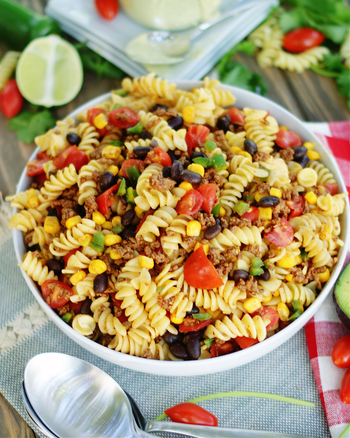 Toss the Taco Salad ingredients together before adding the dressing.