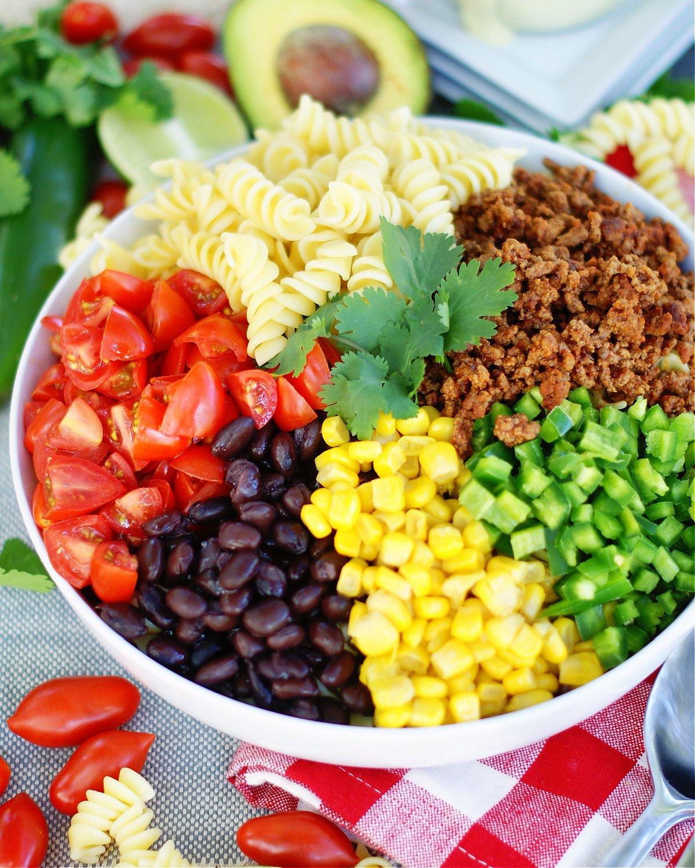 Taco Pasta Salad has all the delicious Tex Mex flavors.