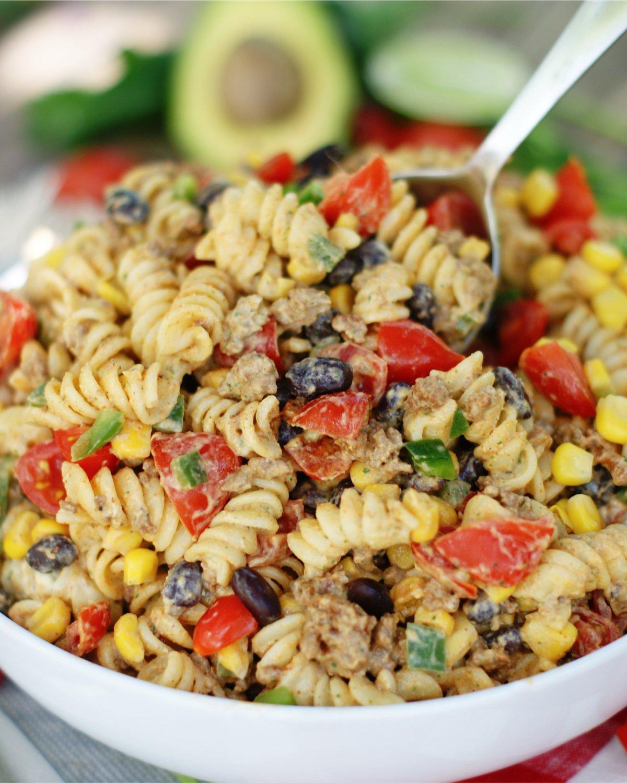Serve Taco Pasta Salad at cookouts, tailgates or potlucks.