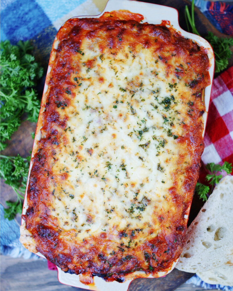 Ultimate Spaghetti Casserole baked in the oven