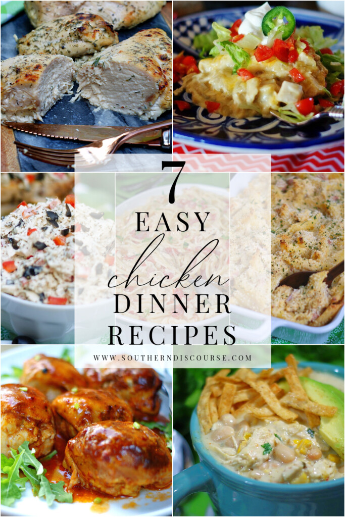 7 easy chicken dinner recipes to make preparing weeknight meals easier.  From pasta to salad to chili, enchiladas and more, chicken never has to be boring again!