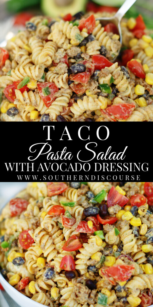 Taco Pasta Salad is loaded with taco seasoned ground beef, black beans, tomatoes, green onions, corn and jalapenos, then tossed in a cool, creamy avocado cilantro dressing with lime. An easy Tex Mex favorite for cookouts, potlucks, tailgates and family gatherings.