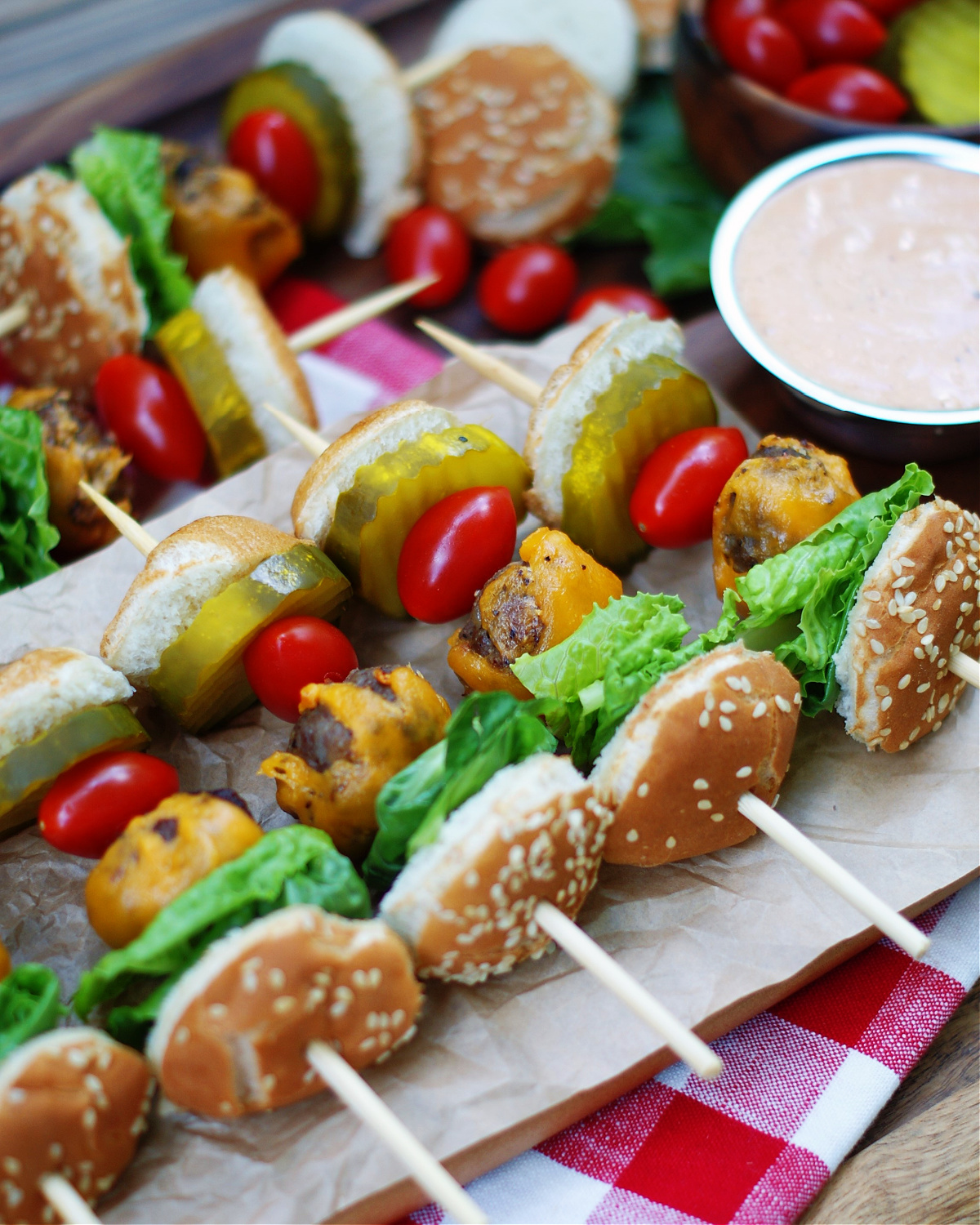completed cheeseburger skewers to serve at a party