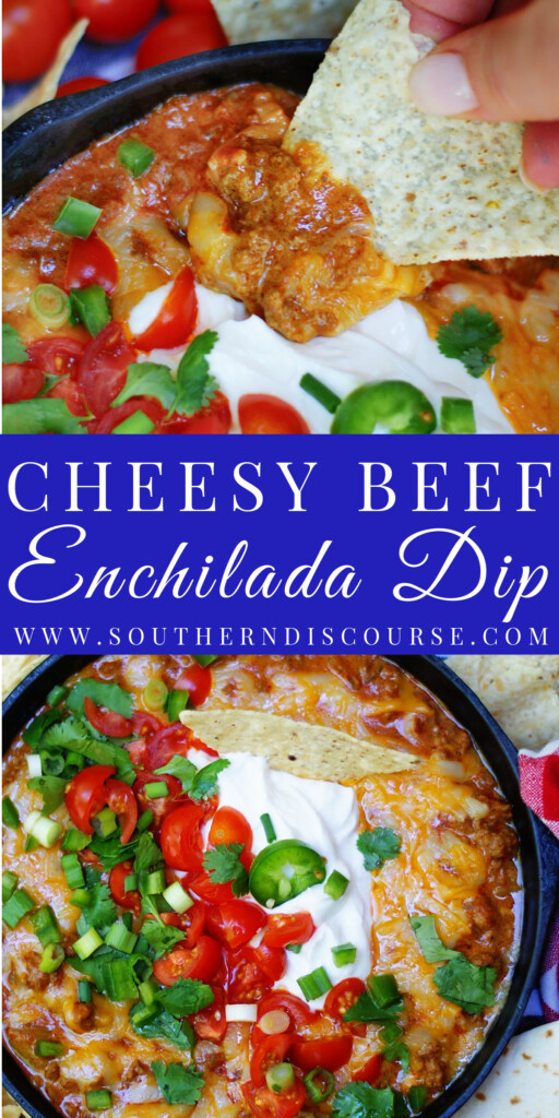 With Cheesy Beef Enchilada Dip, everything you love about your favorite plate of beef enchiladas becomes an addictive melty, cheesy dip just begging to be the next appetizer or snack at your next party, game day, cookout or family hang out!