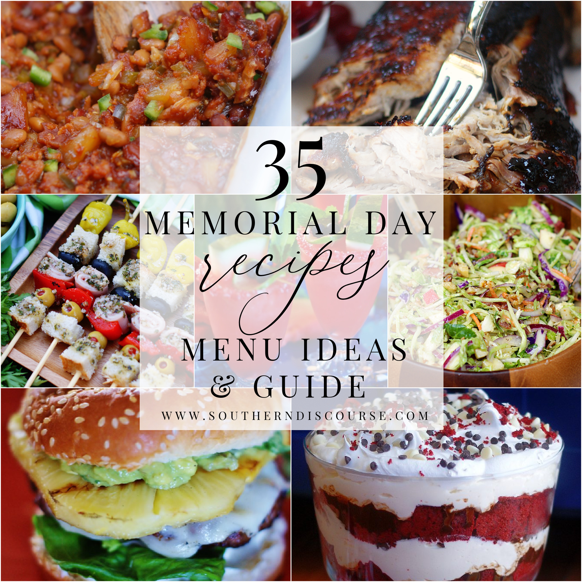 collage of memorial day recipes to create a cookout menu