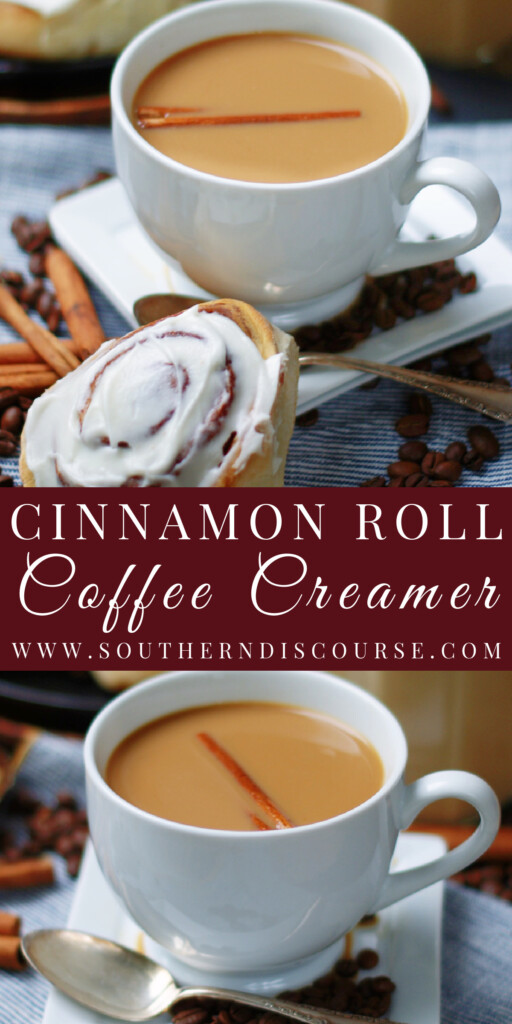 Rich & creamy Homemade Cinnamon Roll Coffee Creamer tastes just like a soft, fresh-from-the-oven cinnamon roll!  Sweetened with a simple syrup made with cinnamon sticks, brown sugar, buttery maple syrup and a splash of vanilla, this easy coffee creamer makes every morning bakery special!