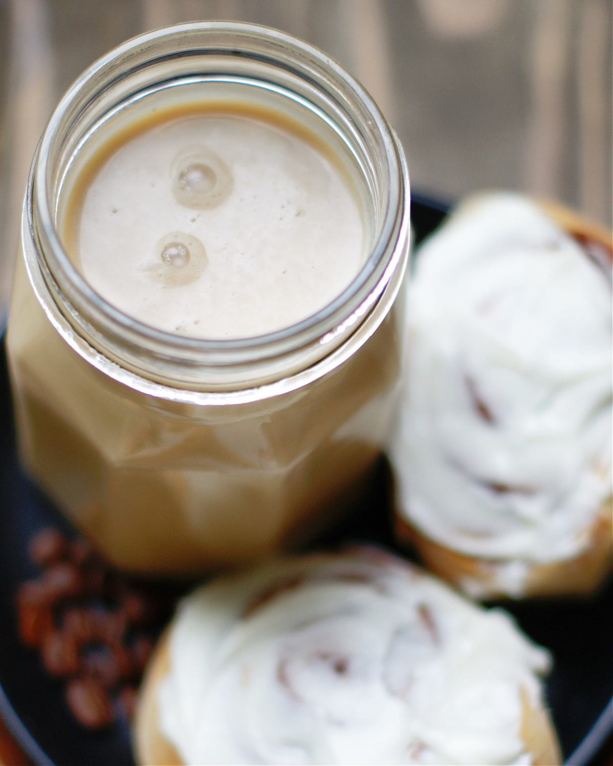 A look into the top of the cinnamon roll coffee creamer jar to see smoothness