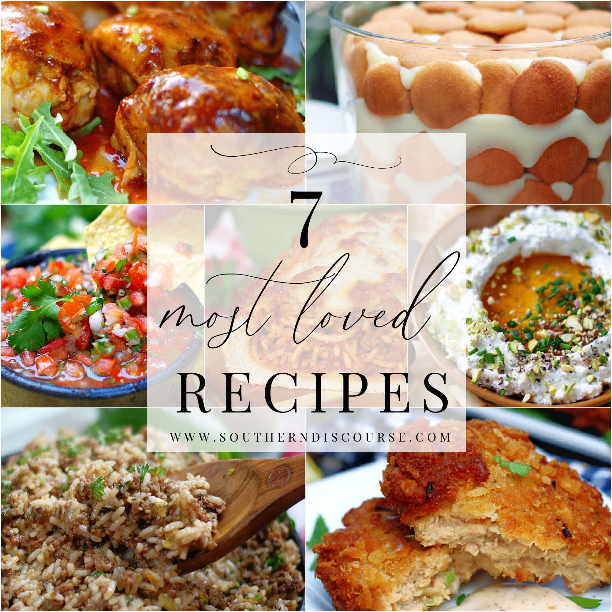 Top reader favorite recipes.  Recipes our top fans love and make again and again!  From new recipes like Southern Banana Pudding from scratch to old favorites like Louisiana Dirty Rice, salsa, whipped feta, salmon patties, spaghetti stuffed garlic bread. photo collage.