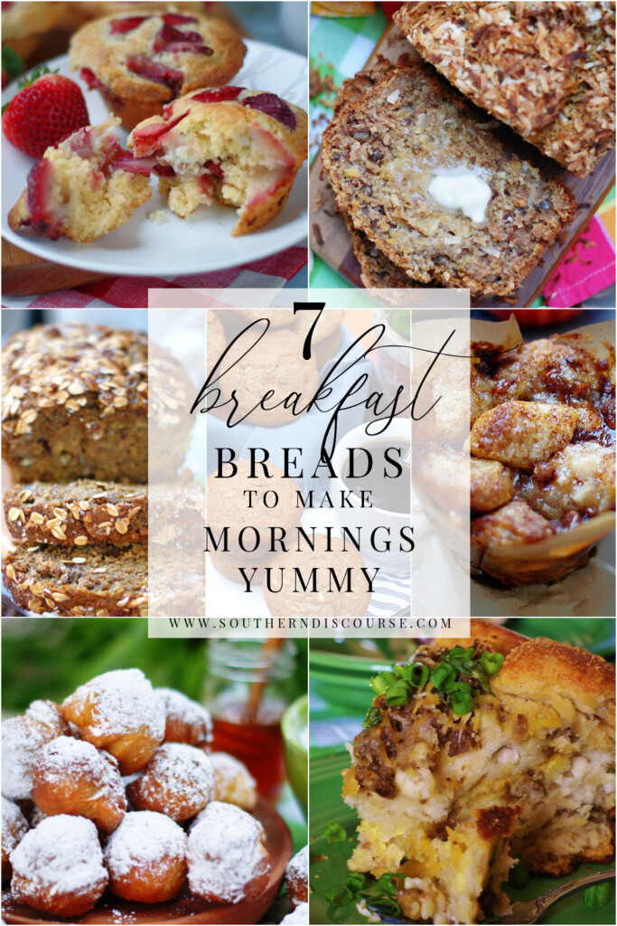 7 breakfast bread recipes- from muffins to banana breads to pull breads to beignets- everything you need to make mornings yummy!