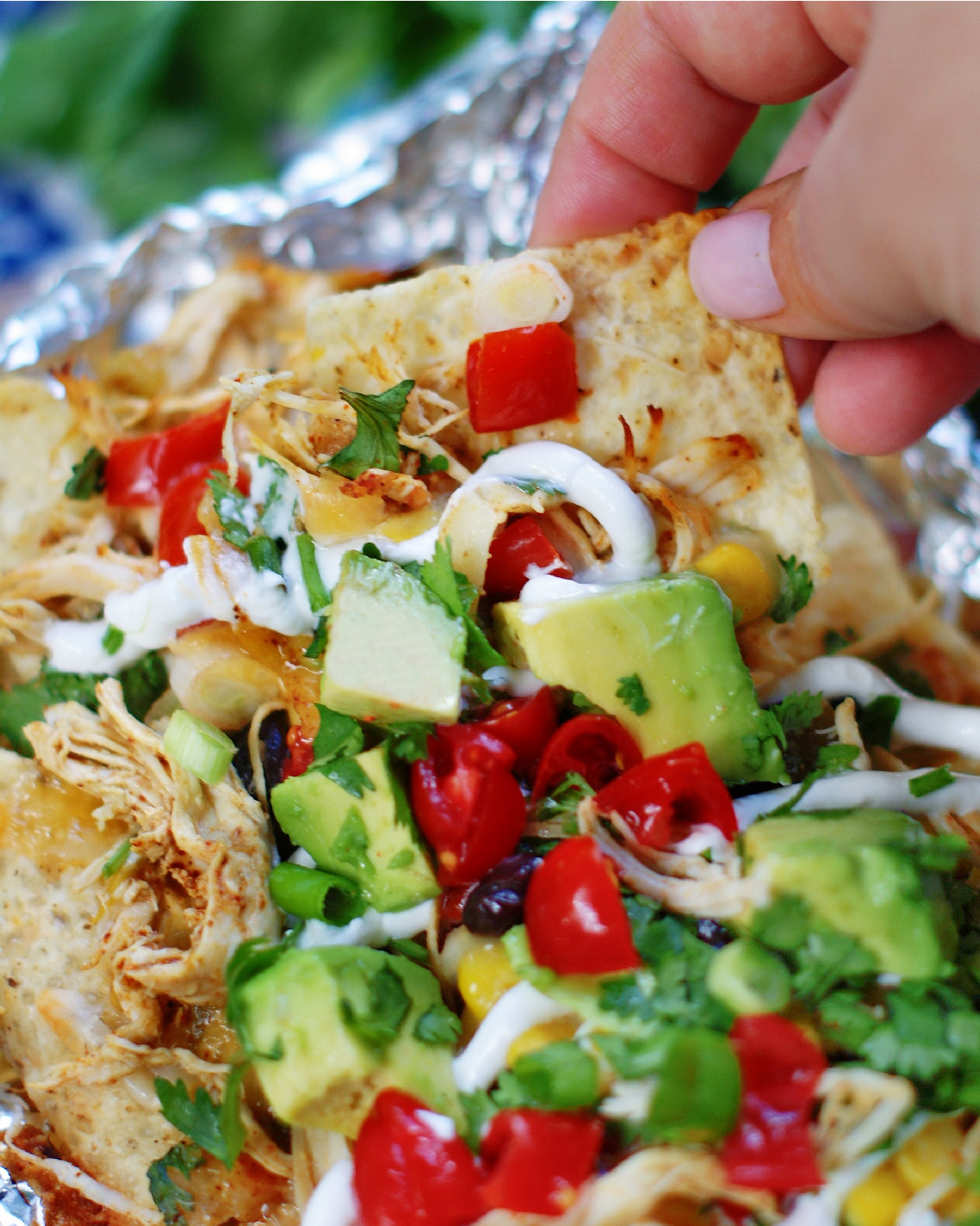 upclose of a chicken nacho with toppings to show serving