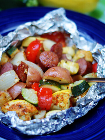 Easy summer dinner with grilled garden vegetables and smoked sausage foil packets