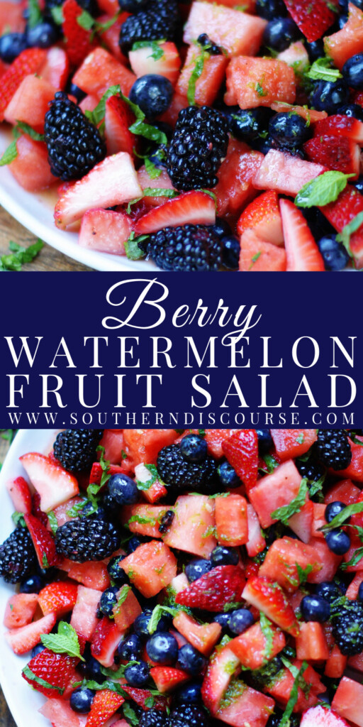 Loaded with juicy watermelon, red strawberries, pops of blueberries and plump blackberries, this sun-ripened summer fruit salad is topped with fresh mint and tossed in a simple honey lime dressing to create a light and completely refreshing dish.