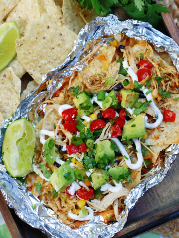 A completed chicken nacho foil packet to show finished dish